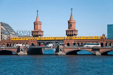 berlin oberbaumbruecke bridge with passing subway train Stock Photo