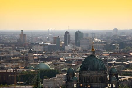 dom: berlin skyline with potsdamer platz and berliner dom at dawn Banque d'images