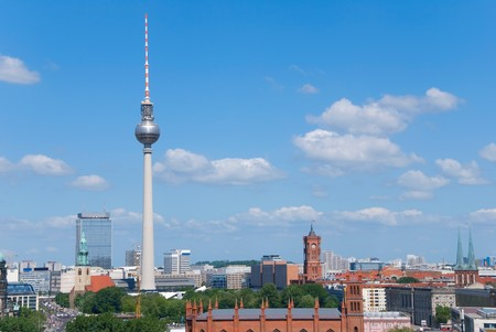 berlin skyline with rotes rathaus town hall