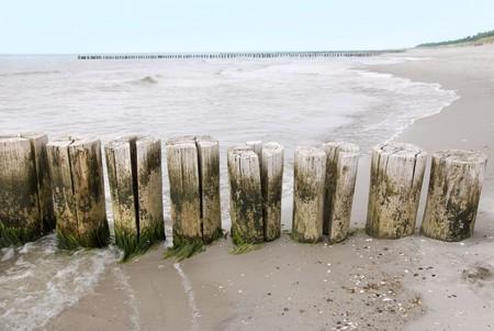 groynes: wooden groynes at th beach of the baltic sea Stock Photo