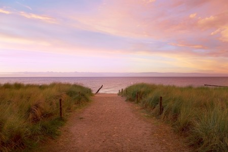 beach in baltic sea, germany, at sunset photo