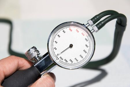 hypertensive: hand of a doctor with blood pressure gauge