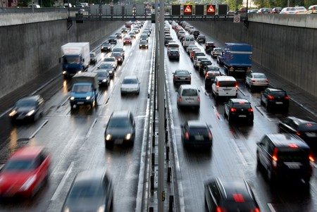 highway at rush hour in berlin photo