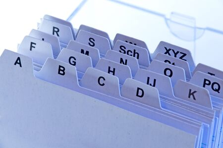 adresses: address file cards with alphabet in blue light Stock Photo