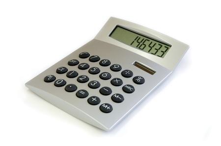 白い背景で隔離された銀の電卓 写真素材