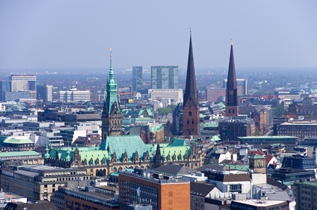 rathaus: aerial photo over the roofs of hamburg with rathaus Stock Photo