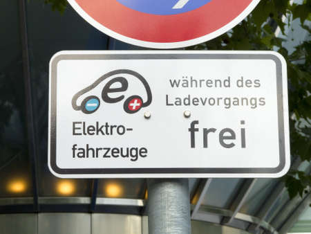 sign for electric car fuel station in germany photo
