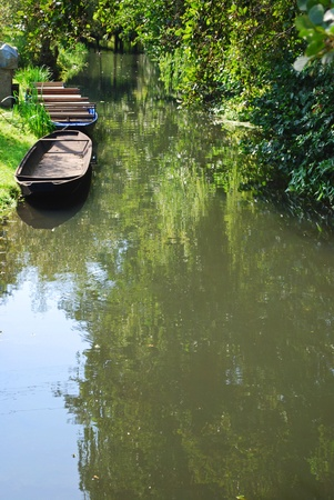 aerea: traditional boats in the spreewald aerea, brandenburg, germany