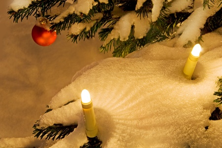 electric, candles on a christmas tree with snow Stock Photo - 10300410