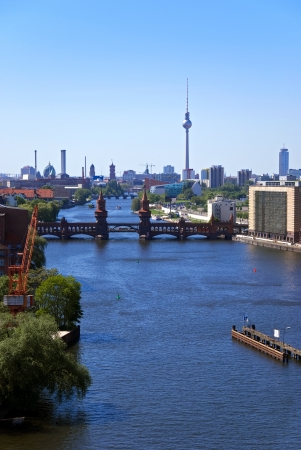 skylin of berlin in summer with river spree