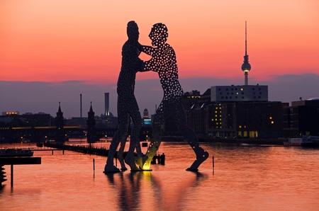 skyline of berlin in sunset light and oberbaumbruecke Stock Photo - 11729984