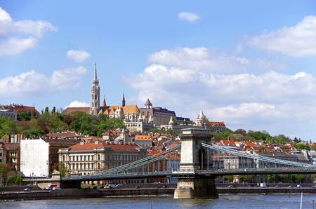 chain bridge, danube river and fishermen&acute bastion in budapest hungary Stock Photo - 13524952