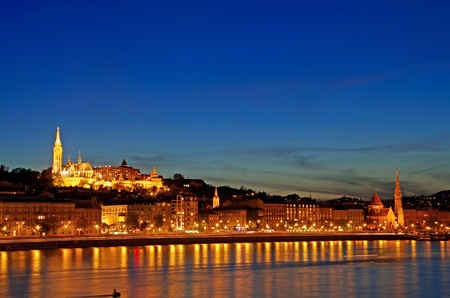 skyline of budapest with bastei and church at night Stock Photo - 13524893