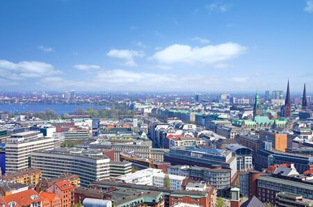 townhall: aerial view of the skyline of hmaburg with alster