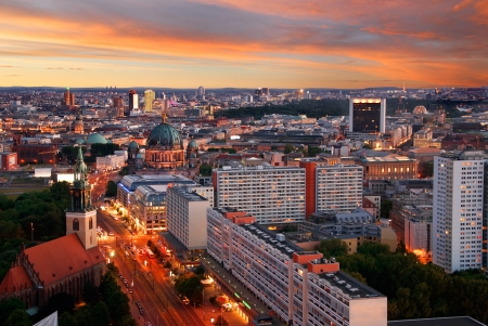east berlin: aerial image of berlin skyline with potsdamer platz and berliner dom at dawn