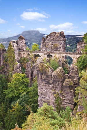 saxony: elbe sandstone mountains in saxony, germany in summer
