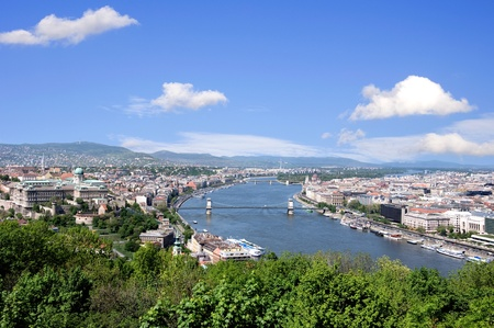 skyline of budapest and river danube in summer Stock Photo - 16813768