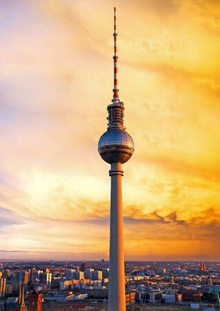 television tower in berlin mitte at sunset Stock Photo - 18673787