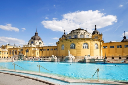 budapest: budapest szechnyi bath spa in summer with people