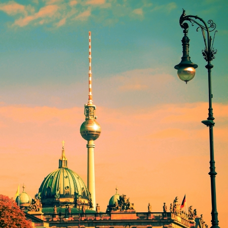 sights: berlin with tv tower and german dome