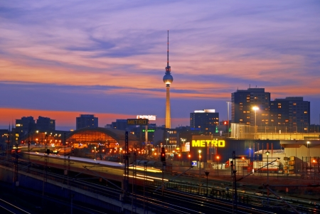 berlin skyline with tv tower and sunset