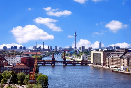 berlin skyline aerial view with river spree and oberbaumbruecke Stock Photo - 22948594