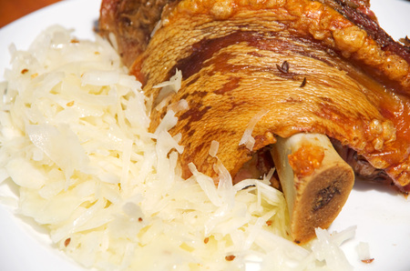 traditional knuckle of pork and cabbage salad on the oktoberfest Stok Fotoğraf