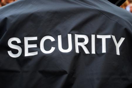 guardia de seguridad: parte posterior de un guardia de seguridad de espectadores borrosa