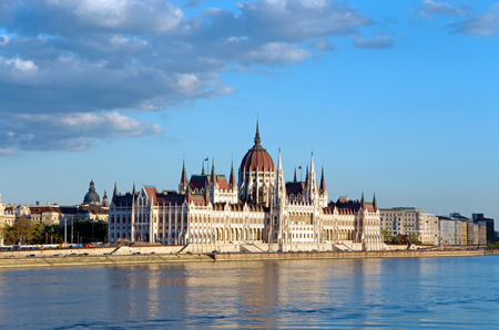 parliament of budapest and river danube at sunset Stock Photo - 22984993
