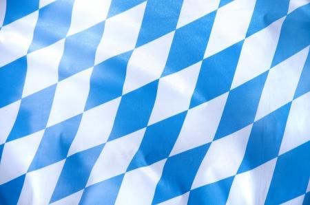 青と白のババリア地方旗を風になびかせて 写真素材