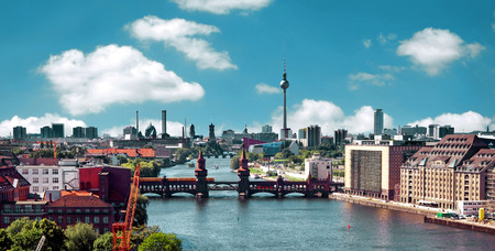 berlin: berlin skyline aerial view with river spree and oberbaumbruecke