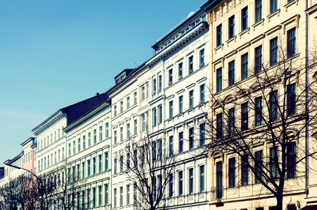 property berlin: historic stucco facades at the Berlin Bergmannstrasse Stock Photo