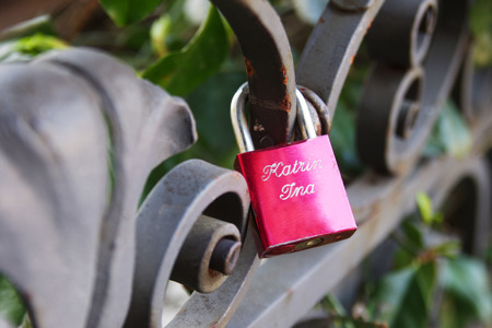 love locks with female names lesbain gay marriage Stock Photo