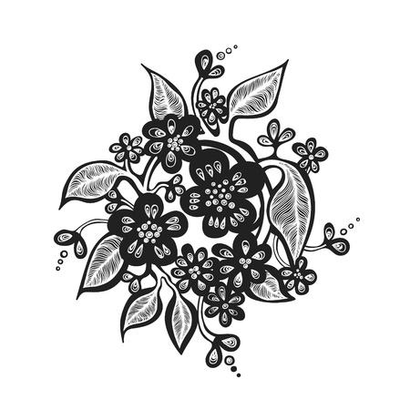 Wreath of stylized flowers.