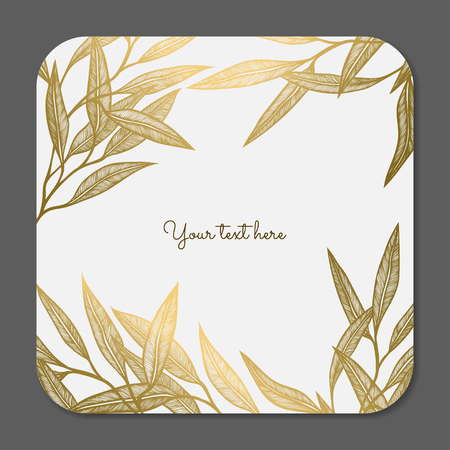 Gold leaves. Vector decorative collection of floral frame.