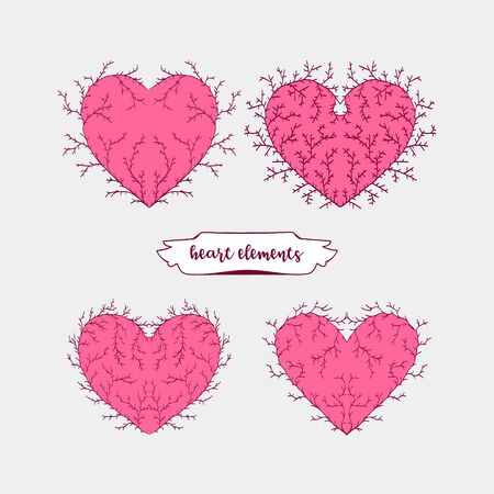 Vector decorative collection of hearts.