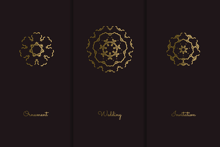 Wedding invitation. Abstract decorative elements. Ornamental business cards, golden pattern, vector illustration Çizim
