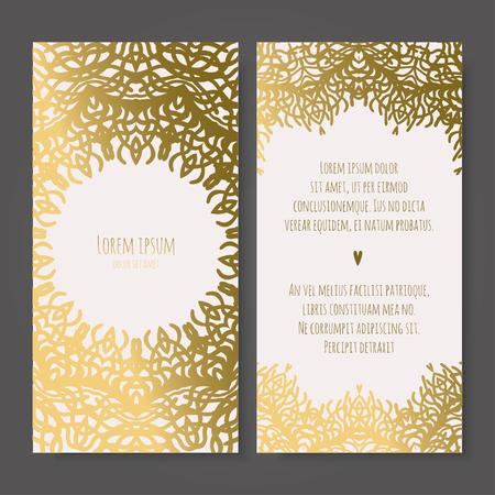 Wedding invitation. Vintage decorative elements. Ornamental business cards, oriental pattern, vector illustration