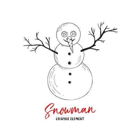 Vector snowman. Illustration for greeting cards, invitations, and other printing projects.