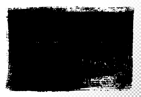 長方形のテキスト ボックスのセットです。黒アクリル ベクトルの汚れは、白で隔離。バナー、ラベル、フレーム形状の描画の手。黒の質感デザイン