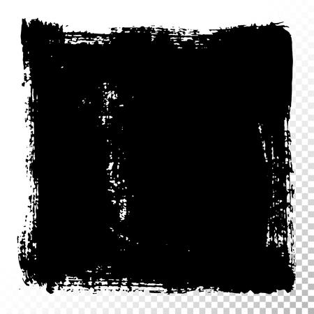 [四角] テキスト ボックスです。黒アクリル ベクトルの汚れは、白で隔離。バナー、ラベル、フレーム形状の描画の手。黒の質感デザイン要素です。