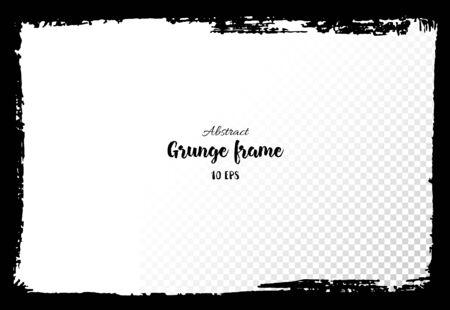 Grunge frame. Hand drawing of banner, label, frame shape. Black textured design elements