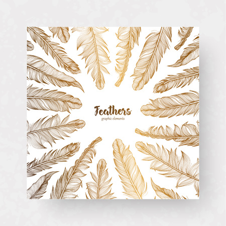 Vector design template with gold feathers for invitations, wedding greeting cards, certificate, labels. Vettoriali