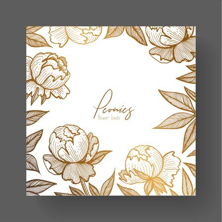 Gold cards templates for invitations, backgrounds for quotes, package design, or as a complement to a modern branding project. Template design include peonies and peonies leaves.