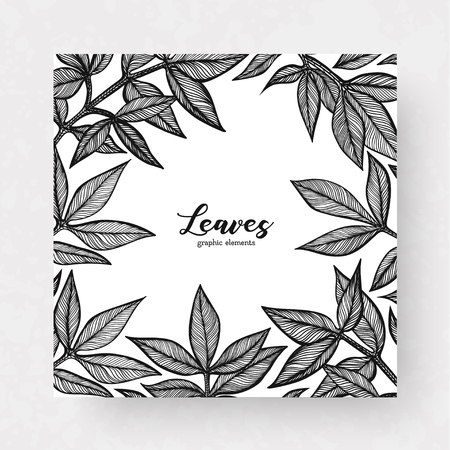 Graphic detailed cards with peony leaves. Linear vector leaves for your design greeting cards, postcards, flyer, packing and background