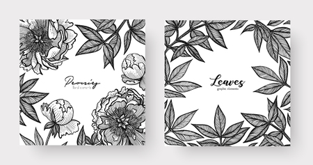 Graphic detailed frame with peony flowers and leaves, Two design templates vector illustration
