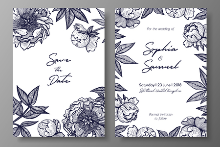 Wedding invitation with peonies. Cards templates for save the date, thank you card, wedding invites, menu, flyer, background, greeting cards, postcards