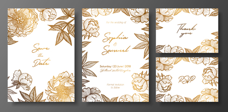 Set of gold and white wedding cards with peonies. Gold floral cards templates for save the date, thank you card, wedding invites, menu, flyer, greeting cards, postcards.