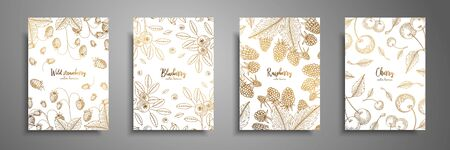 Gold collection of cards design with berries.
