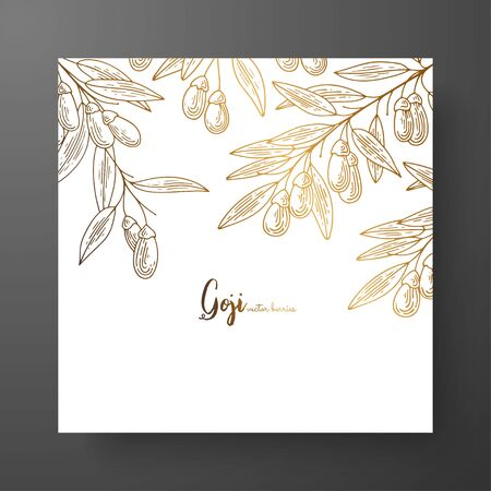 Gold card template for invitations, greeting cards, postcards, package design, or as a complement to a vintage project. Place for text, vintage botanical engraving illustration of golden goji berry.